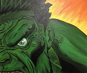 Hulk and Red Hulk Two-Piece Acrylic Painting