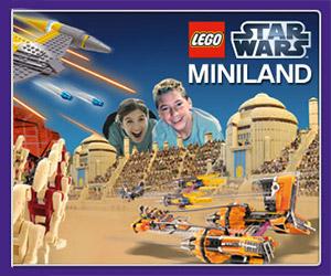 Giant LEGO Star Wars Tatooine Podracing Diorama