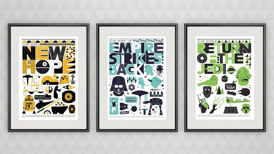 Retro Pop Art Star Wars Trilogy Posters on Etsy