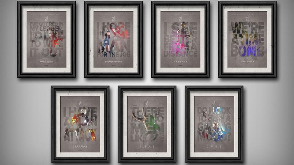 The Avengers Typographic Art Prints