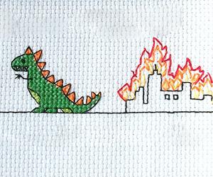 Godzilla Destroying Your Town – in Cross-Stitch