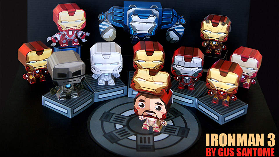 Iron Man 3 Hall of Armor Papercraft