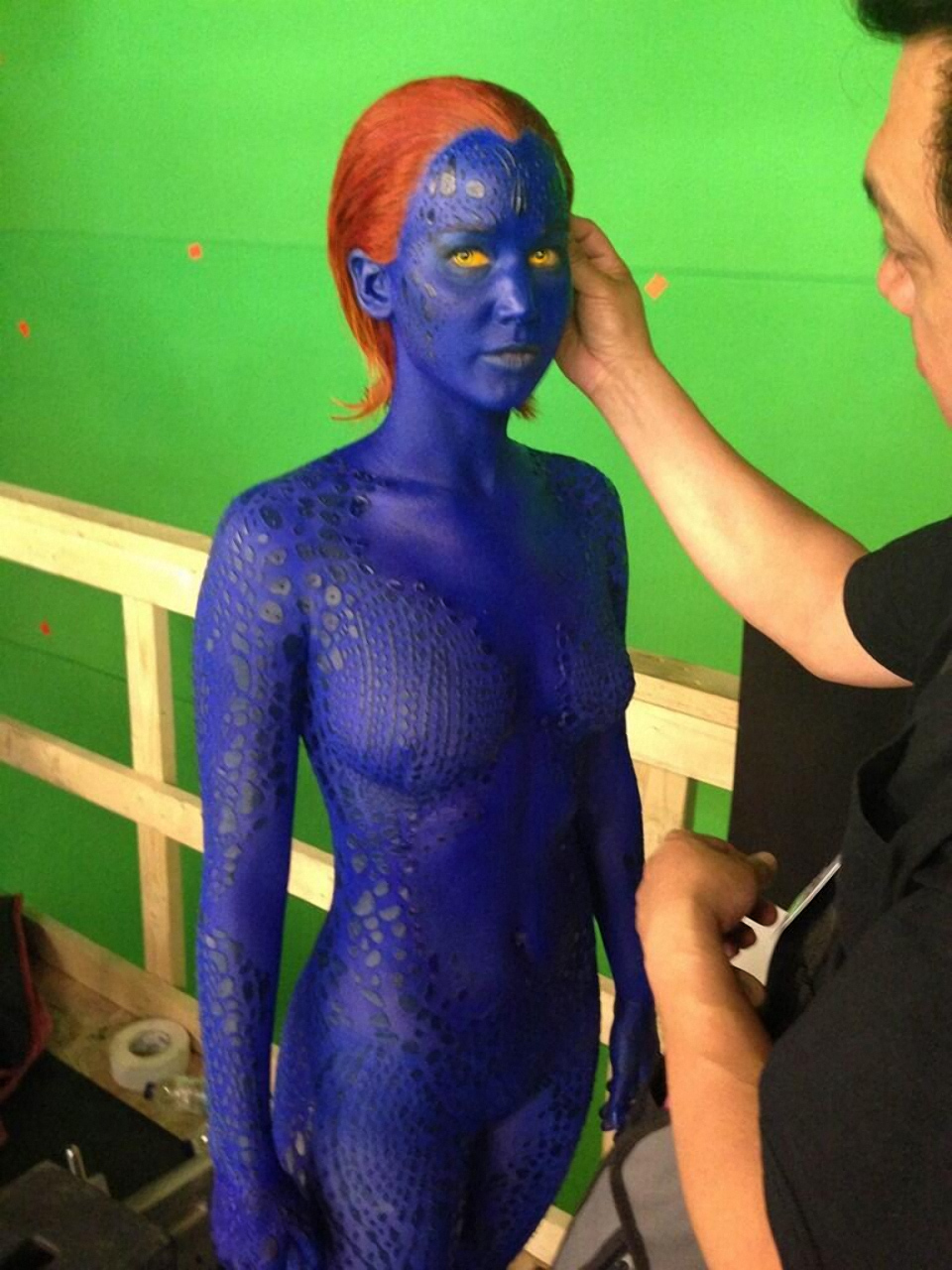Jennifer Lawrence in Full Mystique Make-Up