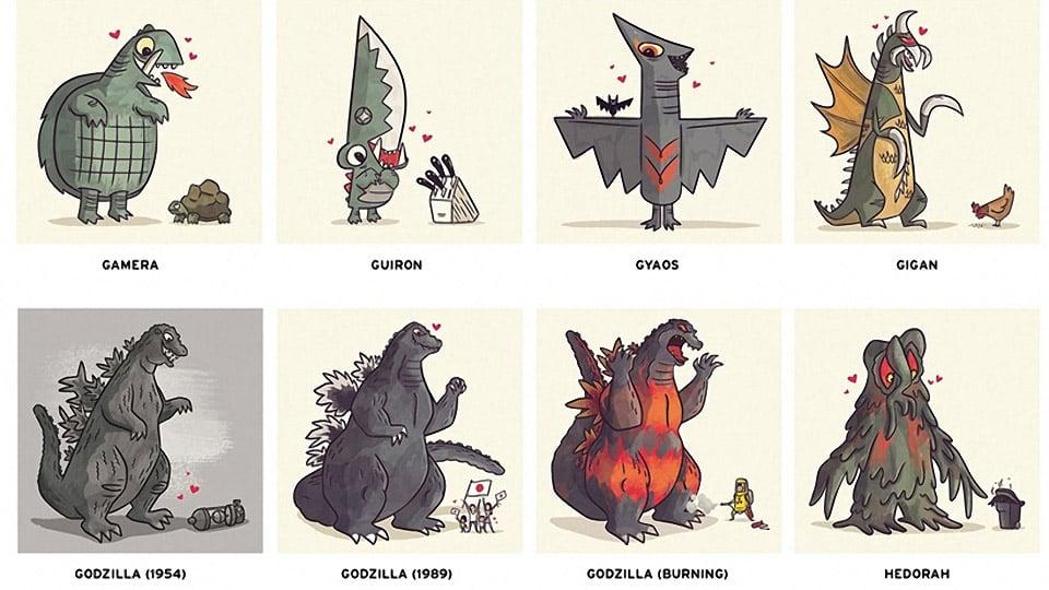 Godzilla in Love: Kaiju Romance Prints