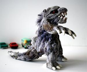 Handmade Godzilla Wool Sculpture