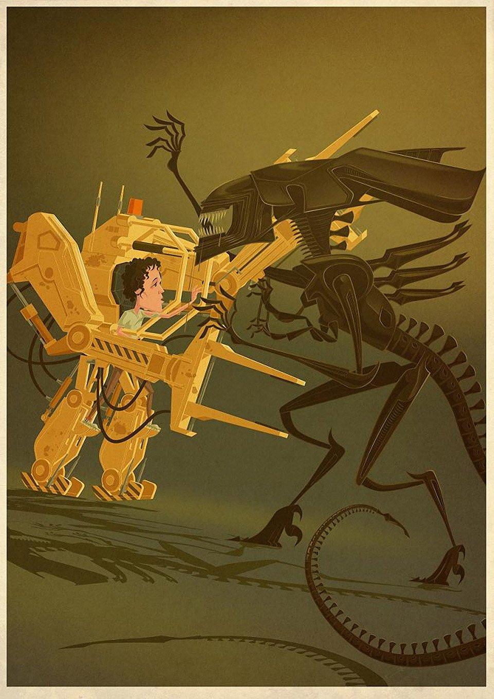 Ellen Ripley Powerloader Battle Prints