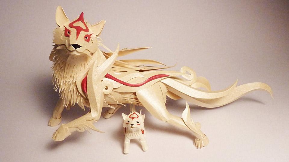 Amazing Papercraft Okami Amaterasu and Chibiterasu