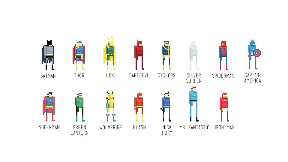 Pixel Superheroes Character Art
