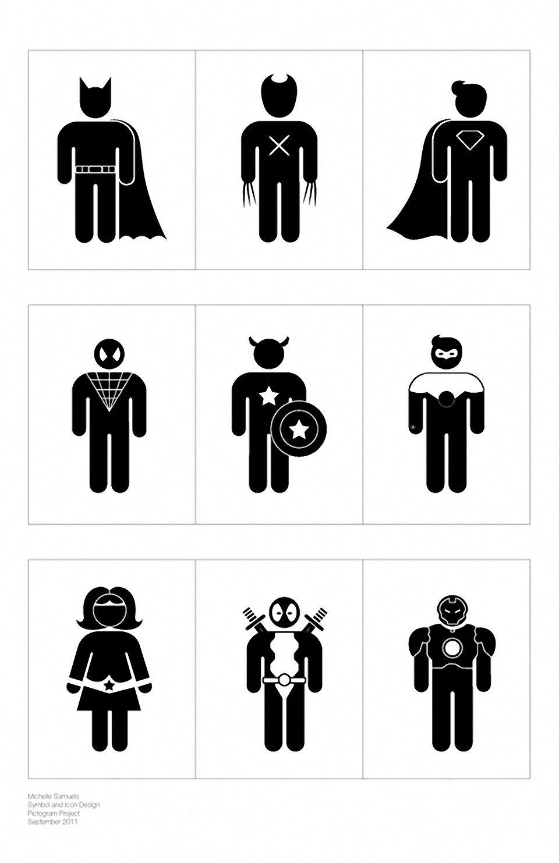 Terrific Superhero Pictogram Art