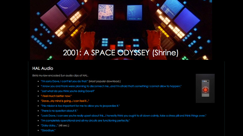 Online Shrine to 2001: A Space Odyssey