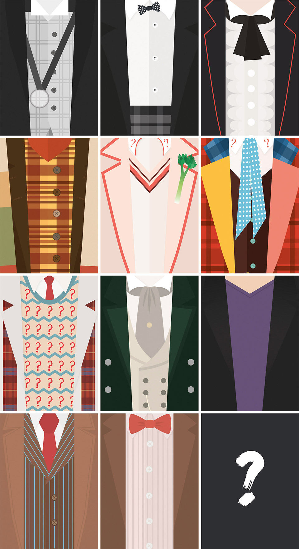 The Twelve Doctors: A Study in Outfits