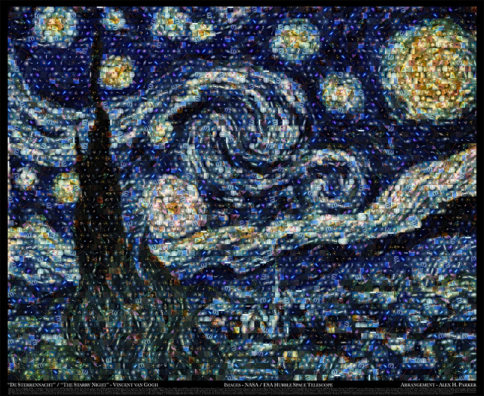 Van Gogh's Starry Night Hubble Image Mosaic