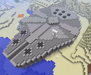 Mos Eisley and Millennium Falcon in Minecraft
