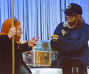 Warwick Davis and Carrie Fisher Reenact Star Wars