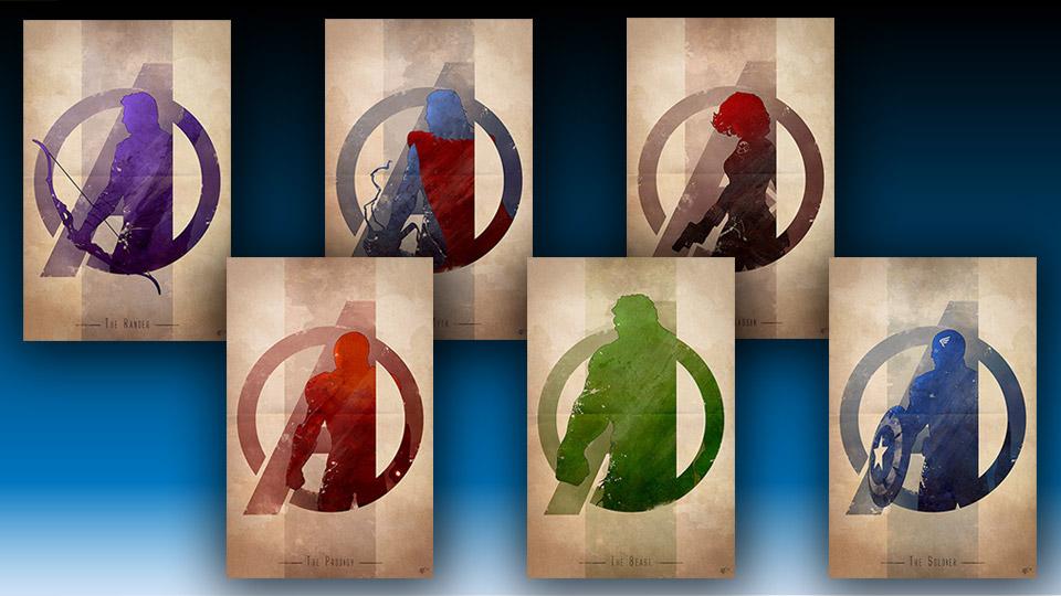 Avengers Assemble Silhouette Art Prints