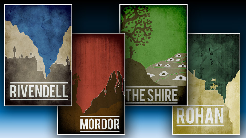 Lord of the Rings Travel-Style Posters