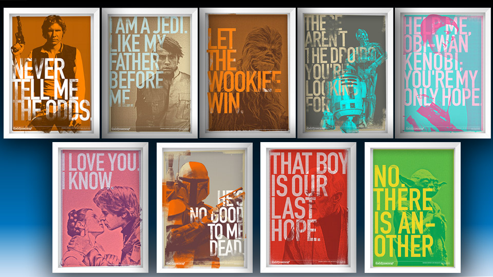 Terrific Star Wars Character and Phrase Prints