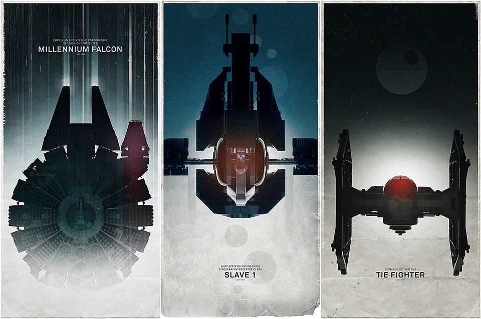 Three LEGO Star Wars Spaceship Posters