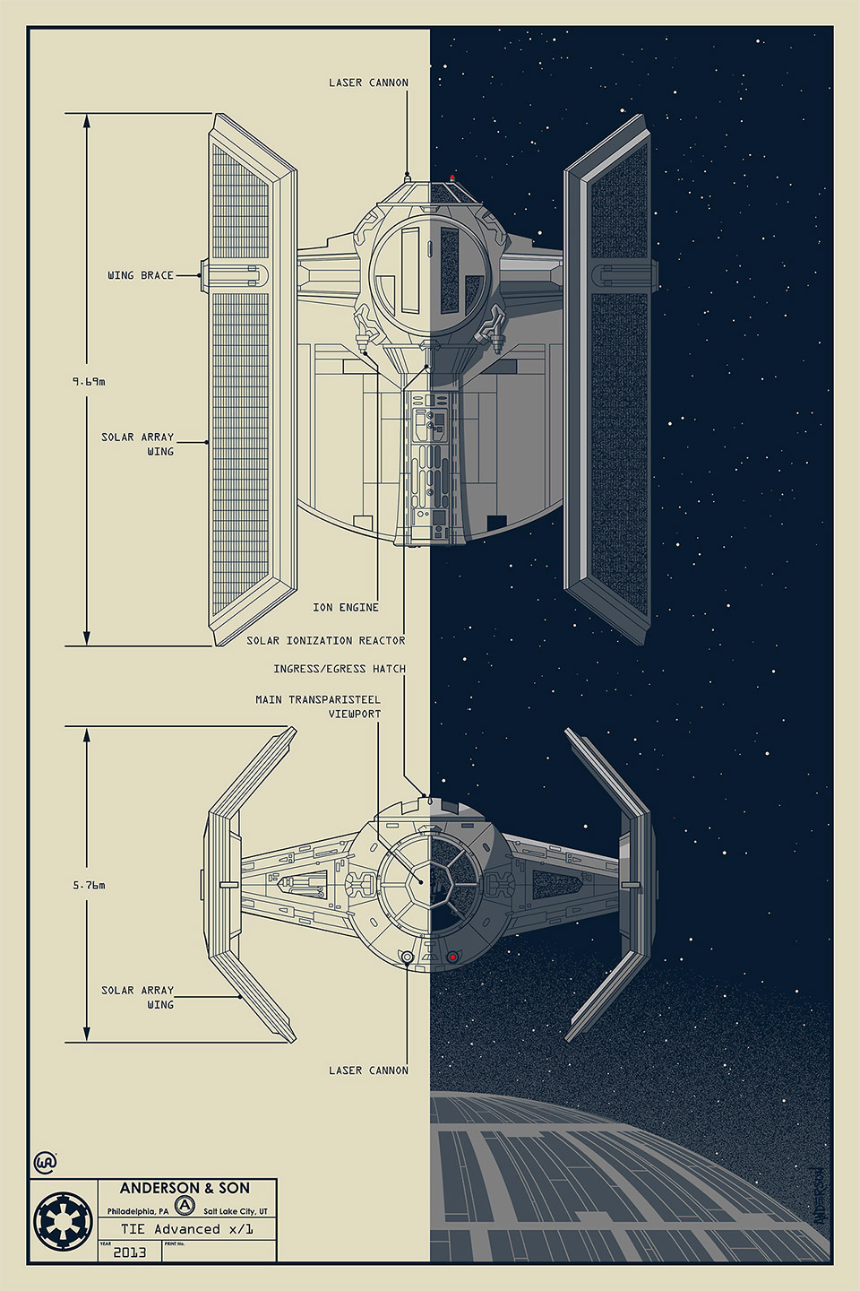 Star Wars Darth Vader TIE Advanced Fighter Blueprint