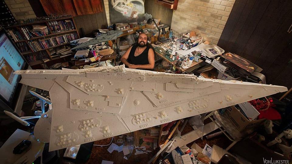 Massive Hand-Carved Star Wars Star Destroyer