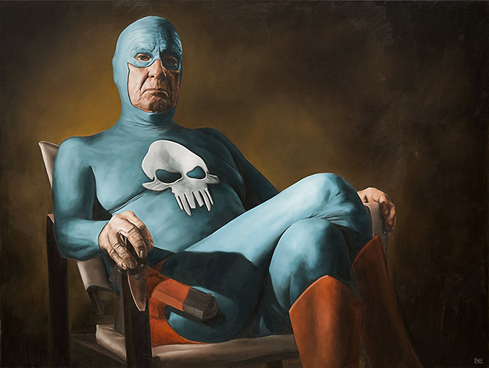 The Aging Superhero: Original Oil Paintings