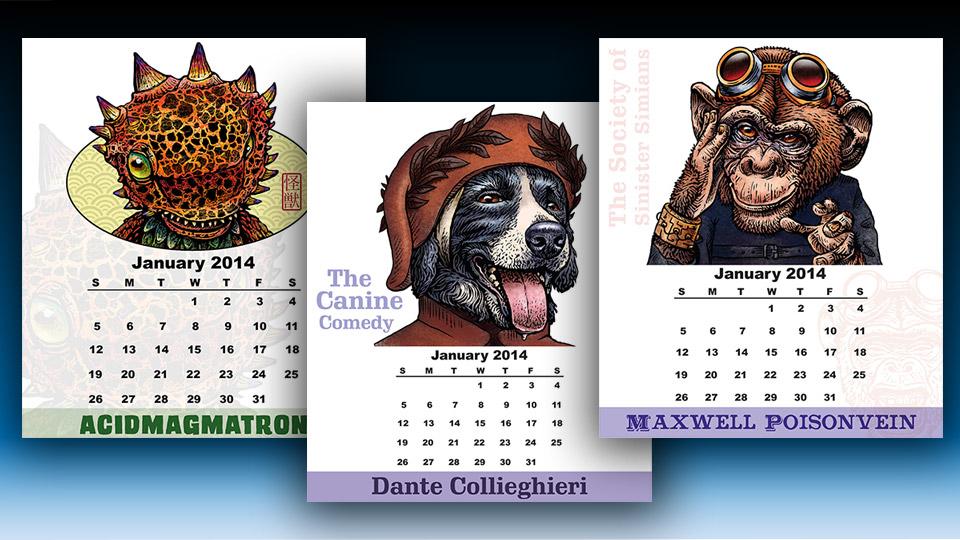 2014 Kaiju Desktop Calendar and More