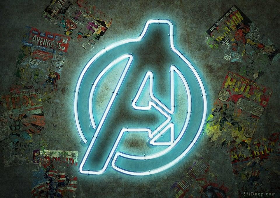 Superhero Logos Reimagined as Neon Signs