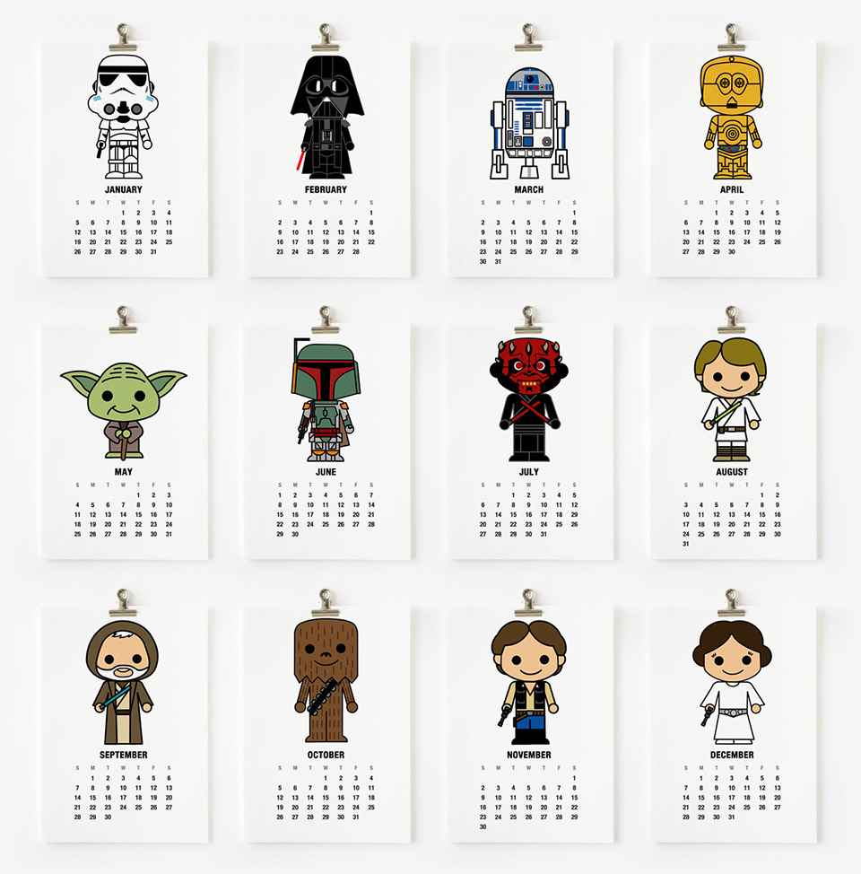 Cute Superhero or Star Wars 2014 Wall Calendars