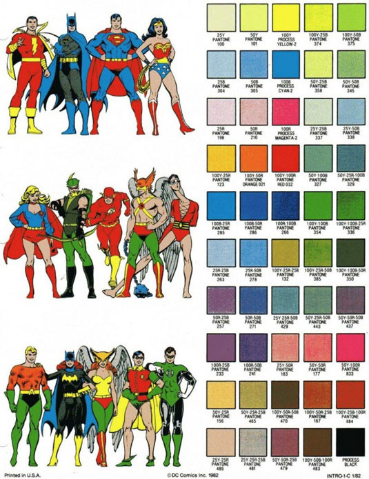 Old School Comic Book Heroes Color Sheet MightyMega