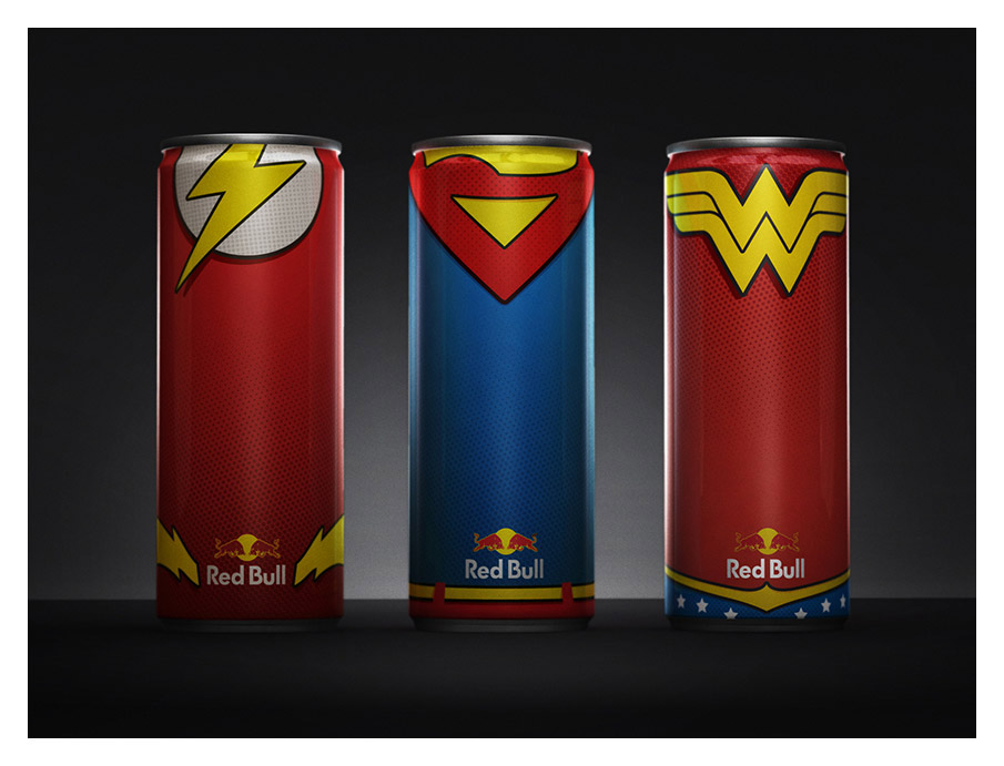 Superheroes as Red Bull Cans