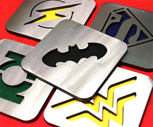 Stainless Steel Comic Book Icon Coasters