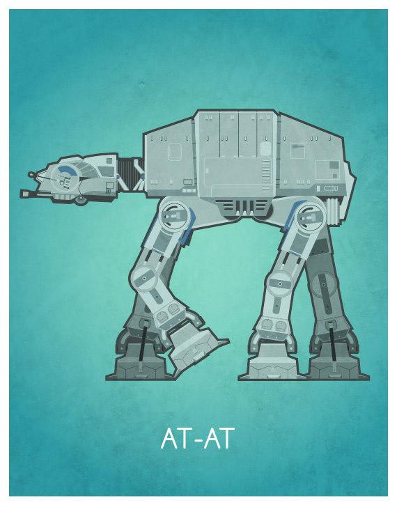 Beautiful Minimal Star-Wars Vehicle Art