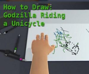 Oliver Age 24 Draws Godzilla Riding a Unicycle