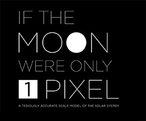 The Scale of the Solar System: The Moon = 1 Pixel
