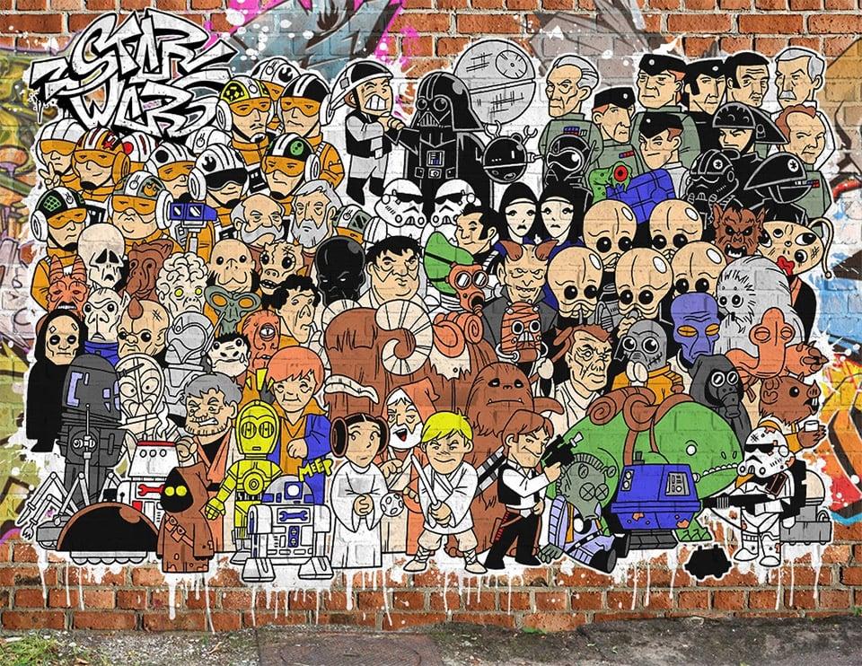 Star Wars Characters as Street Art
