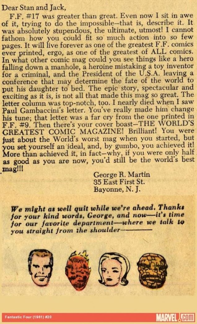 George R. R. Martin's 1963 Letter to Stan Lee & Kirby