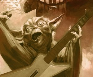 Darth Vader and Yoda Playing Guitar Hero