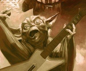Darth Vader and Yoda Playing Guitar Hero