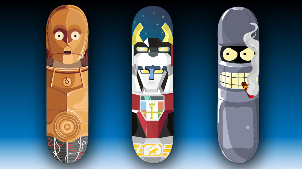 The Robot Skateboards: C-3PO, Bender and Voltron