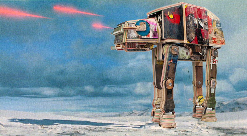 Star Wars AT-AT Walker Made from Skateboards
