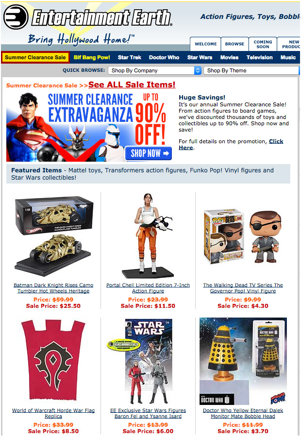 Entertainment Earth Offers up to 90% off Geek Swag