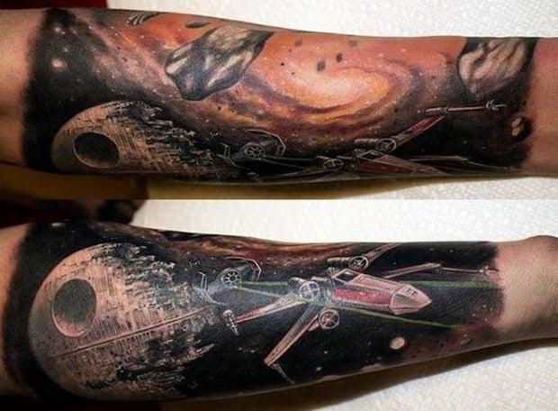 awesome star wars sleeve tattoo mightymega. Black Bedroom Furniture Sets. Home Design Ideas