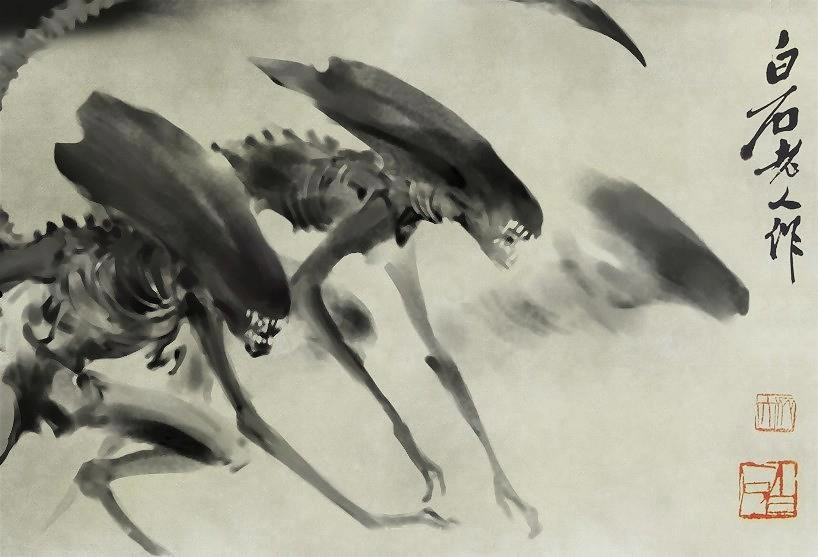Alien Xenomorph Chinese Ink and Wash PaintingInk Wash Painting Of People