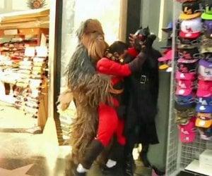 Chewbacca Stops Mr. Incredible vs. Batgirl Fight