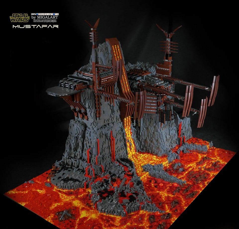 incredible 60 000 piece lego mustafar diorama mightymega. Black Bedroom Furniture Sets. Home Design Ideas