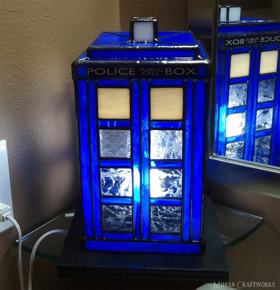 Stained Glass TARDIS Lamp - MightyMega