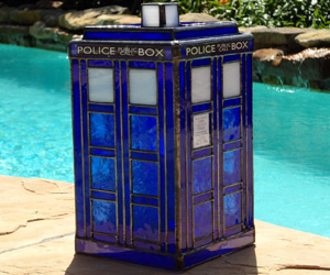 Stained Glass TARDIS Lamp