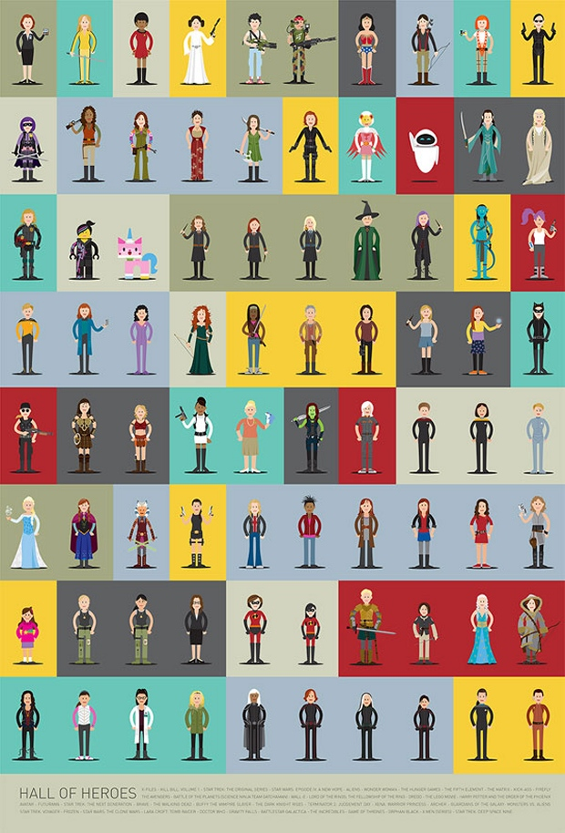 80 Awesome Women Heroes on One Poster
