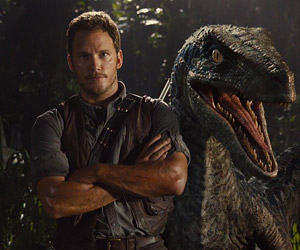Chris Pratt and a Velociraptor