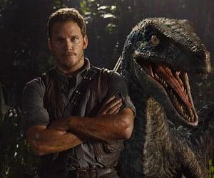 Chris Pratt and a Velociraptor